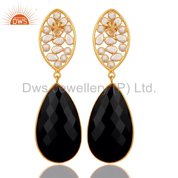 Black Onyx and Zircon 18K Gold Plated Sterling Silver Dangler Earring