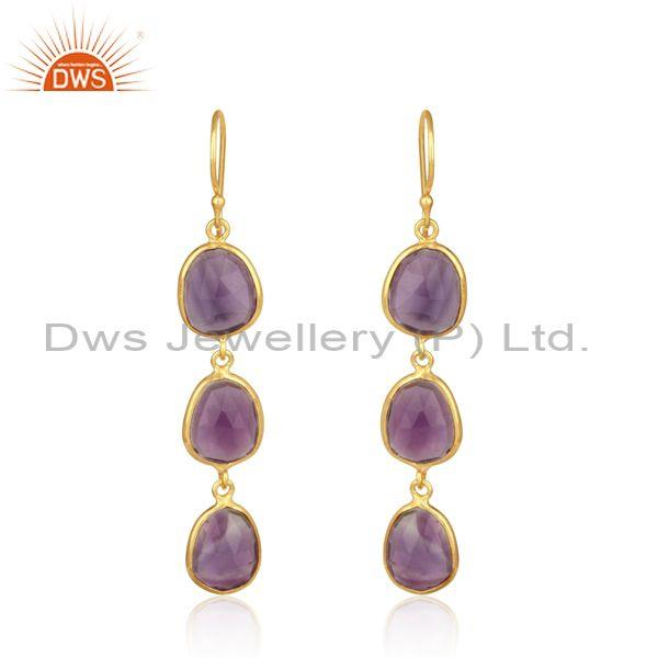Handcrafted Yellow Gold on Silver Long Dangle with Amethyst