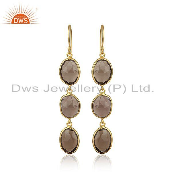 Yellow gold plated 925 silver smoky dangle handmade earring