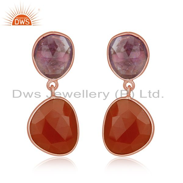 Amethyst and Onyx Gemstone Rose Gold Plated Silver Drop Earrings Manufacturer