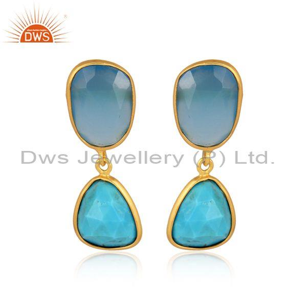 Blue Chalcedony And Turquoise Set Gold On Silver Earrings