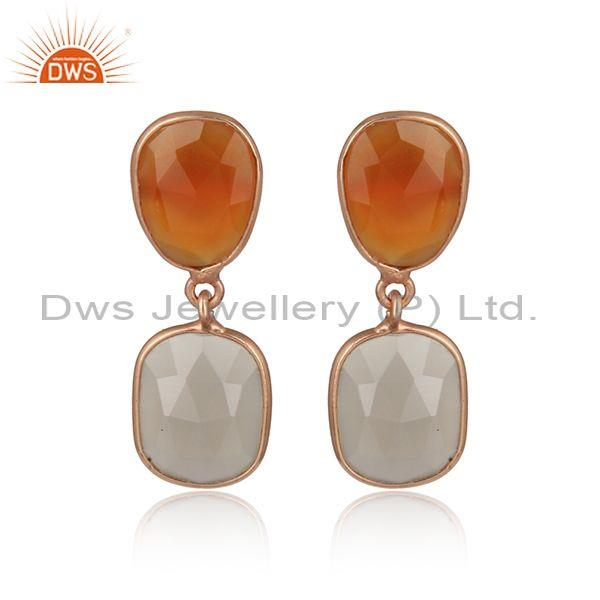 Chalcedony Gemstone Designer Rose Gold On Silver Earring