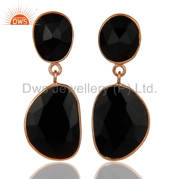 Faceted Black Onyx 18K Gold Plated Sterling Silver Handmade Drop Dangle Earring