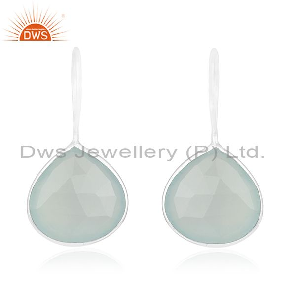 Aqua Chalcedony Gemstone 925 Sterling Fine Silver Drop Earring Manufacturers