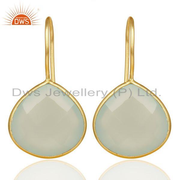 Auq Chalcedony Heart Drop Earring 14K Gold Plated 92.5 Sterling Silver Earing