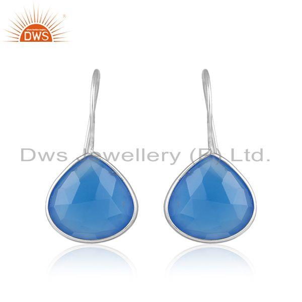 Designer Sterling Fine Silver Blue Chalcedony Gemstone Hook Earrings