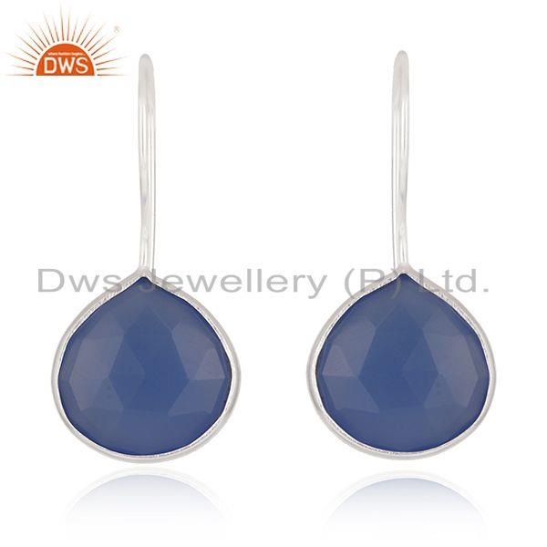 Blue Chalcedony Gemstone Sterling Fine Silver Drop Earring Wholesale