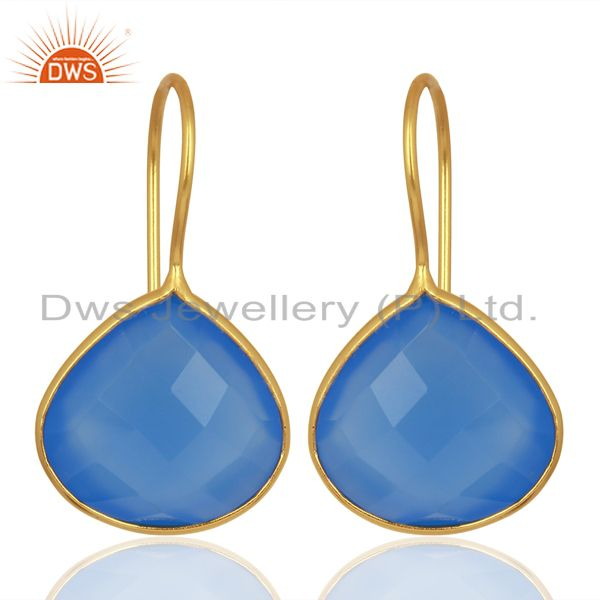 Blue Chalcedony Heart Shape 92.5 Sterling Silver Gold Plated Drop Earring