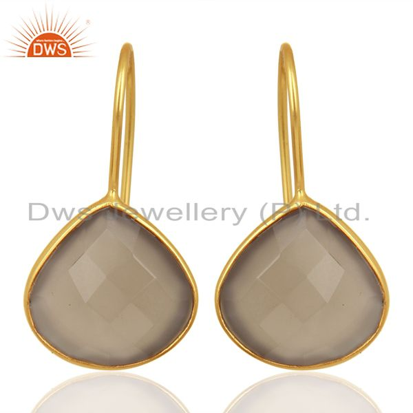Designer Gold Plated Silver Gray Chalcedony Gemstone Earring Jewelry
