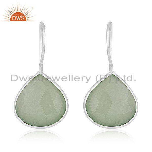 Prehnite Chalcedony Gemstone 925 Sterling Silver Earring Manufacturers