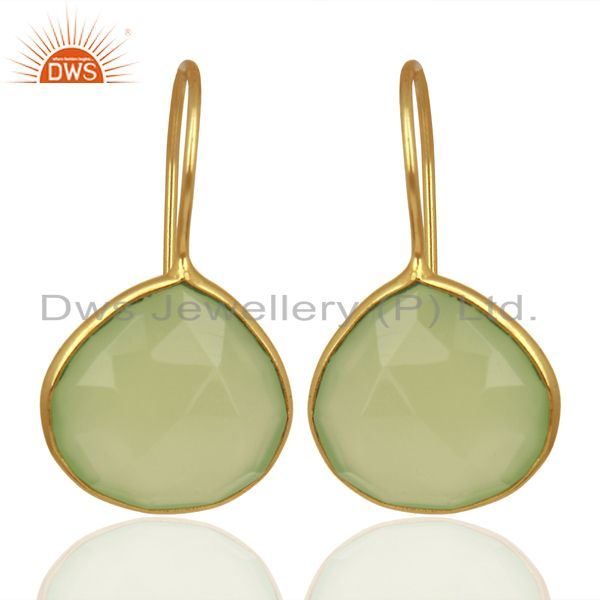 Prehnite Chalcedony Heart Shape 92.5 Sterling Silver Gold Plated Drop Earring