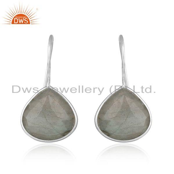 Labradorite Gemstone 92.5 Fine Silver Designer Hook Earrings Jewelry