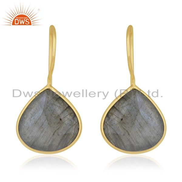 925 Silver Gold Plated Labradorite Gemstone Earring Manufacturer
