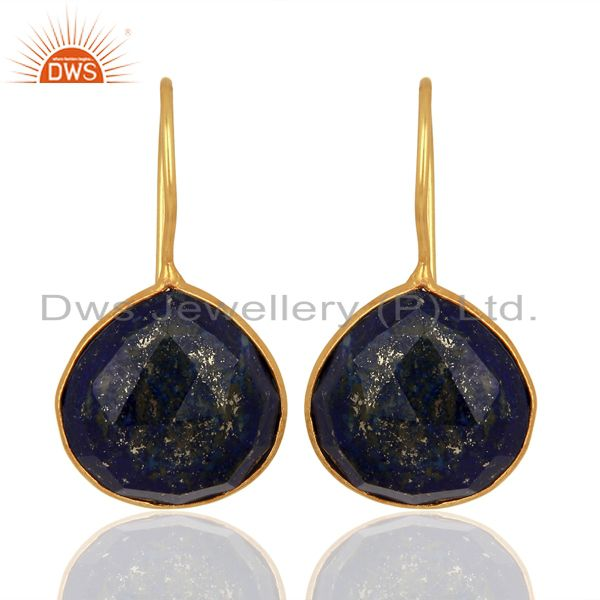 Lapis Heart Shape 92.5 Sterling Silver Gold Plated Drop Earring