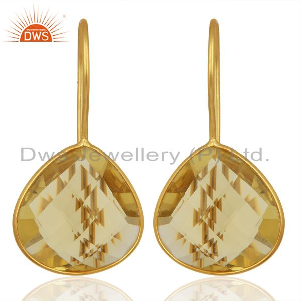 Gold Plated Lemon Topaz Gemstone 925 Silver Fashion Earring Supplier