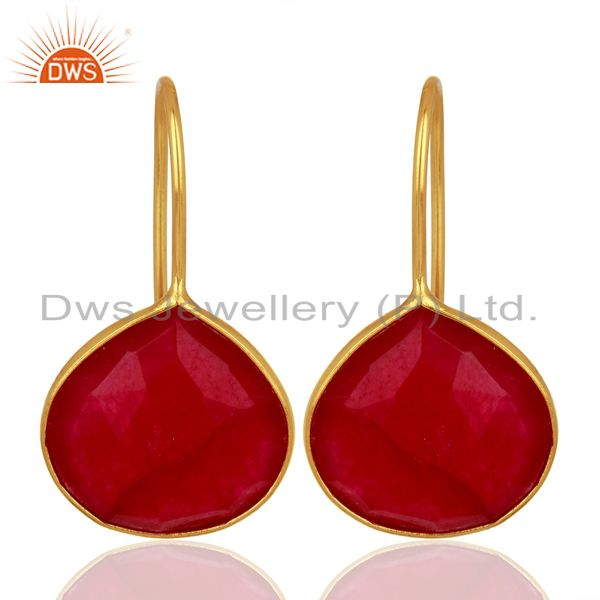 Red Aventurine Gemstone Gold Plated Silver Handmade Earrings Jewelry