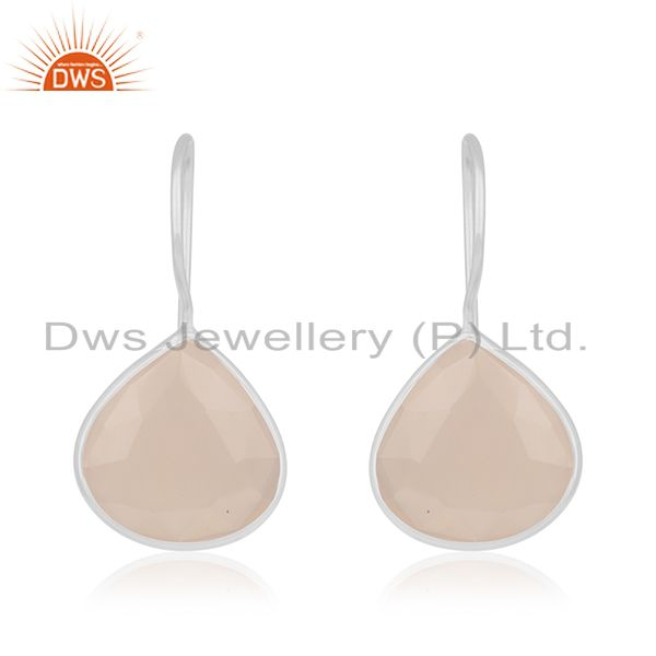 Rose Chalcedony Gemstone 925 Sterling Silver Drop Earrings Manufacturers