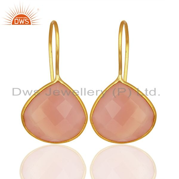 Rose Chalcedony Gemstone Gold Plated 925 Silver Earrings Manufacturer