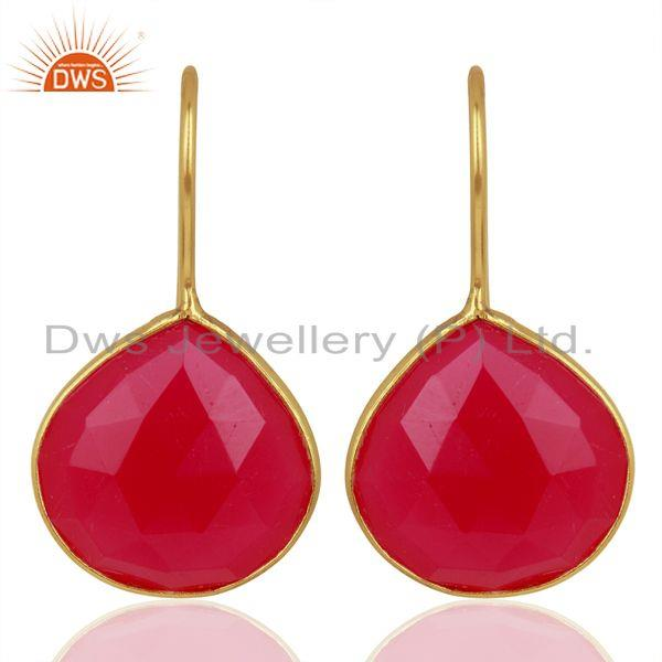 Pink Chalcedony Gemstone Gold Plated Designer Silver Earrings Jewelry