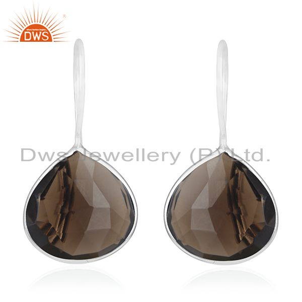 Smoky Quartz 925 Sterling Silver Drop Earring Manufacturer of Custom Jewelry