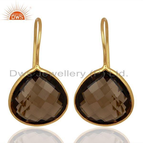 Smoky Topaz Heart Shape 92.5 Sterling Silver Gold Plated Drop Earring