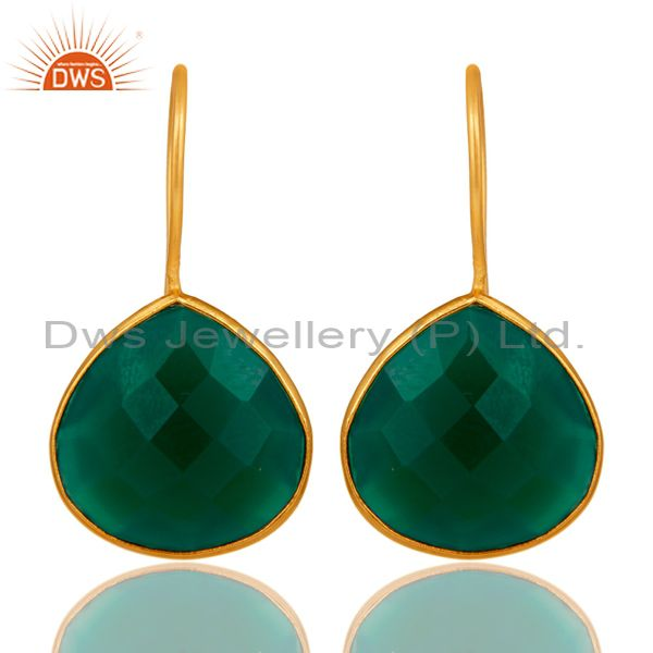 Green Onyx 18K Gold Plated 925 Silver Bezel Set Earring