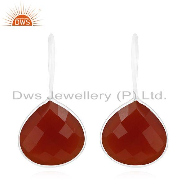 Multi Cheker Board Red Onyx Gemstone 925 Silver Drop Earrings Wholesale