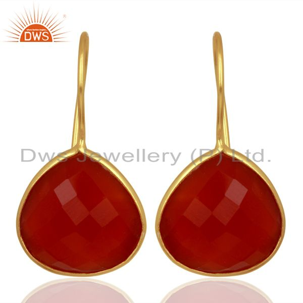 Red Onyx Heart Shape 92.5 Sterling Silver Gold Plated Drop Earring