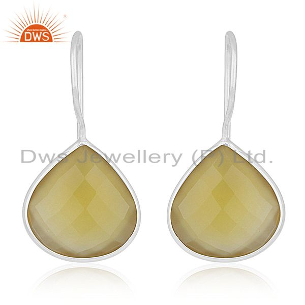 Yellow Chalcedony Gemstone 925 Silver Drop Earring Manufacturer Custom Jewelry