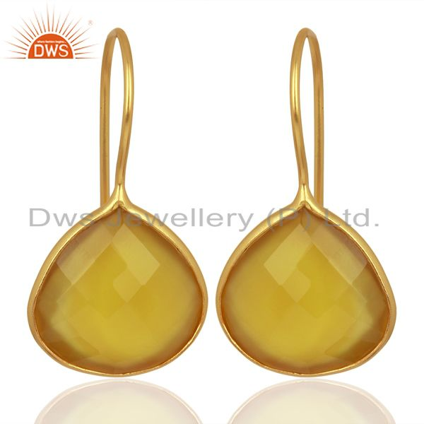 Yellow Chalcedony Heart Shape 92.5 Sterling Silver Gold Plated Drop Earring