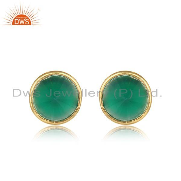 Dainty Elegant Stud in Yellow Gold on Silver 925 and Green Onyx