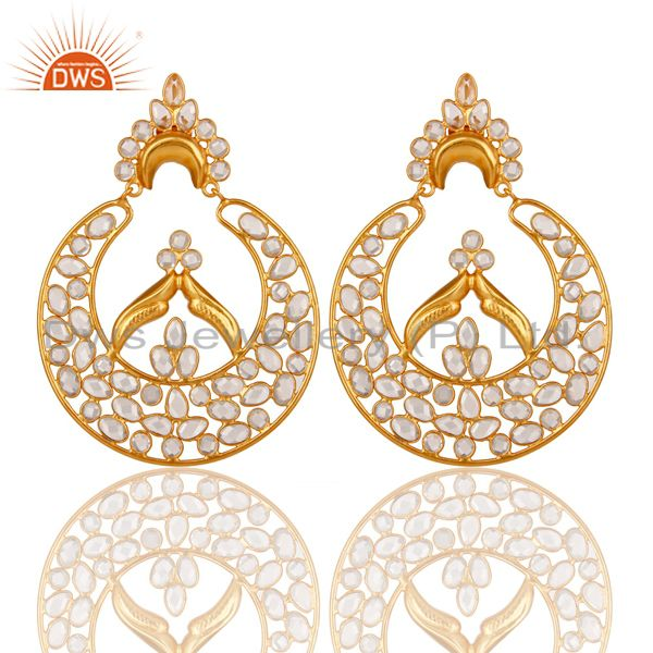 White Zircon and 18K Gold Plated Sterling Silver Dangler Earring Jewelry