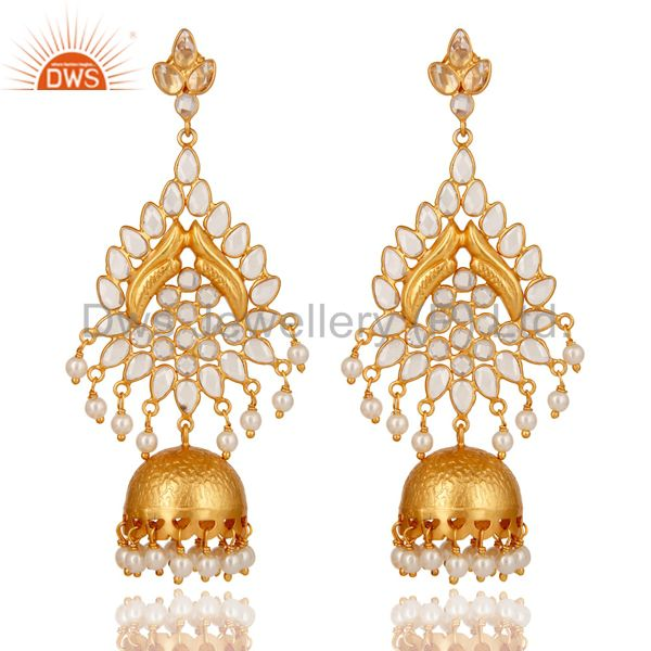 Pearl and White Zircon 18K Gold Plated Sterling Silver Jhumka Earring