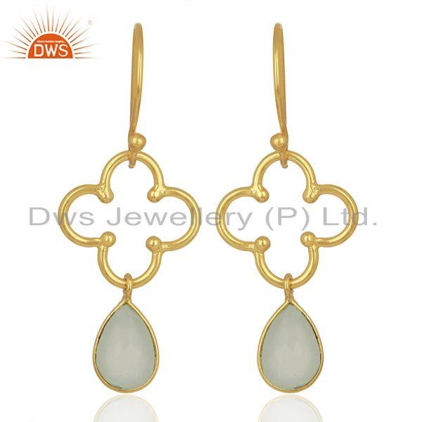 Aqua Chalcedony 14K Gold Plated Sterling Silver Artisan Earrings