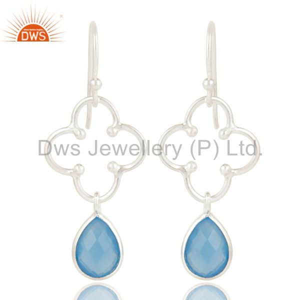 Solid 925 Sterling Silver Handmade Dyed Chalcedony Gemstone Artisan Earrings
