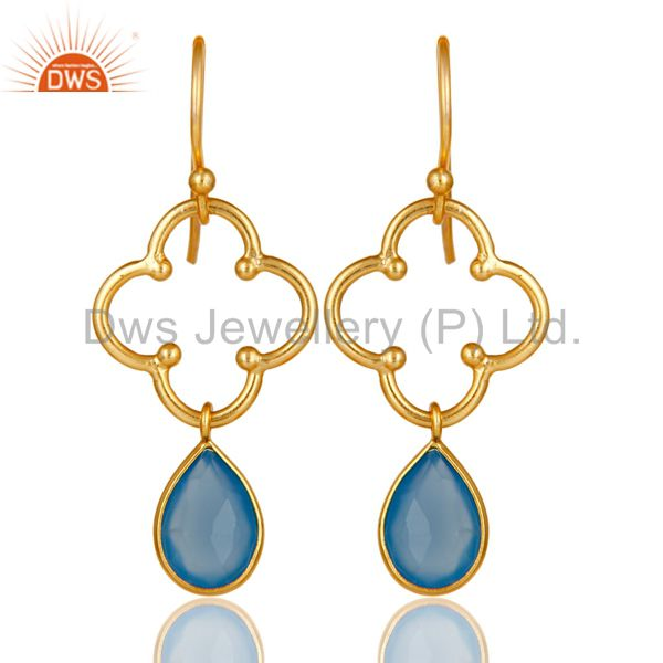 Blue Chalcedony 18K Gold Plated Sterling Silver Artisan Earrings