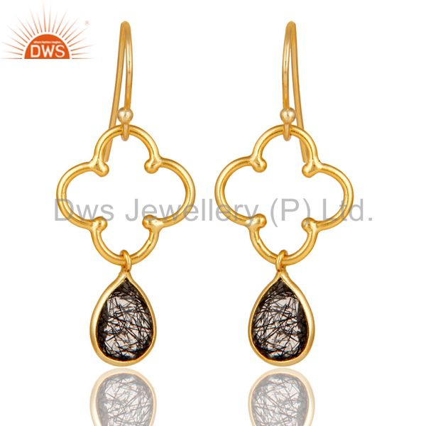 Black Rutile 18K Gold Plated Sterling Silver Artisan Earrings