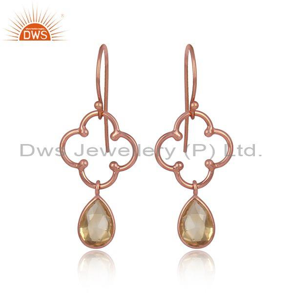 Pear Cut Citrine Set Rose Gold On 925 Silver Floral Earrings