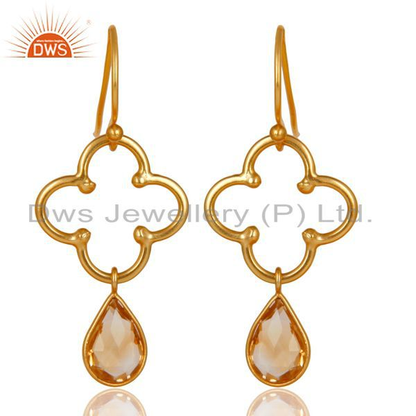 14K Gold Plated 925 Sterling Silver Handmade Citrine Bezel Set Dangle Earrings