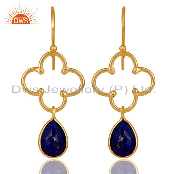 14K Yellow Gold Plated 925 Sterling Silver Lapis Lazuli Artisan Dangle Earrings