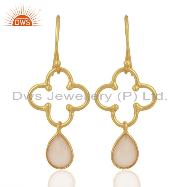 Rose Chalcedony Dangle 14K Yellow Gold Plated 925 Sterling Silver Earrings
