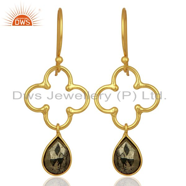 Pyrite Dangle 18K Yellow Gold Plated 925 Sterling Silver Earrings Jewelry