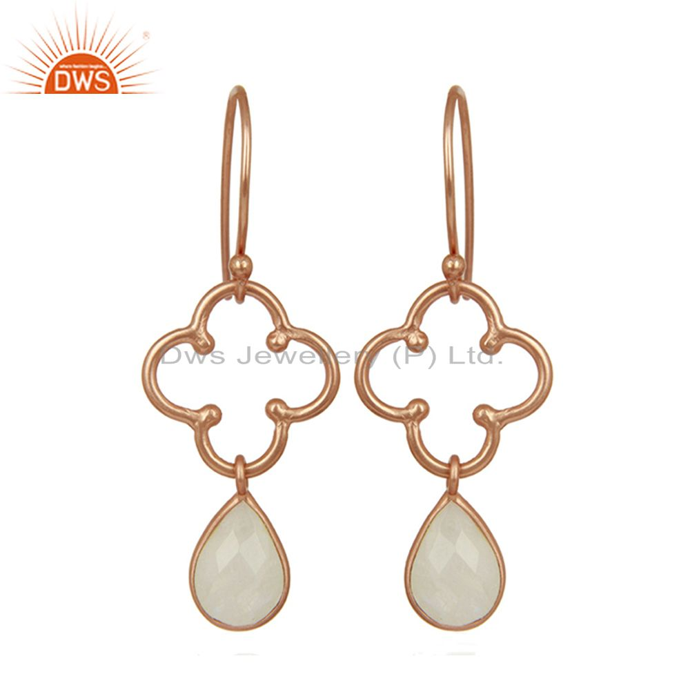 Designer Rose Gold Plated Silver Rainbow Moonstone Earrings Supplier