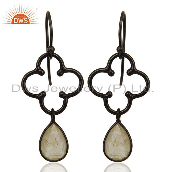 Black Rhodium Plated Silver Golden Rutile Gemstone Earring Jewelry