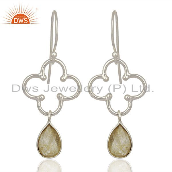 Designer Sterling Fine Silver Golden Rutile Gemstone Fashion Earrings