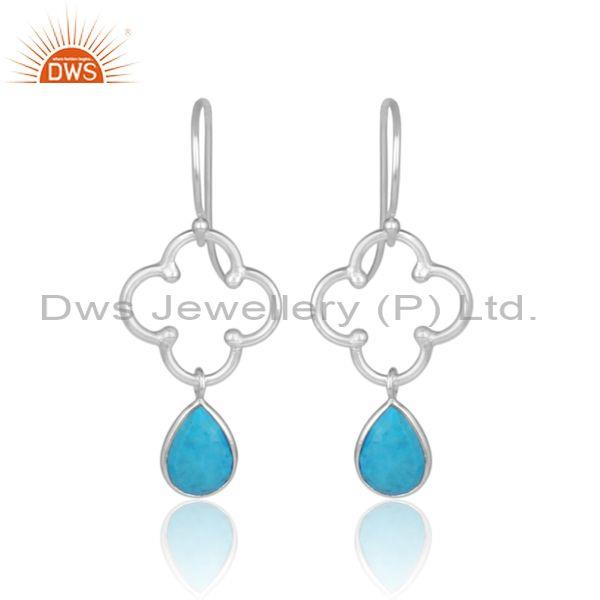 Pear cut turquoise set fine sterling silver floral earrings
