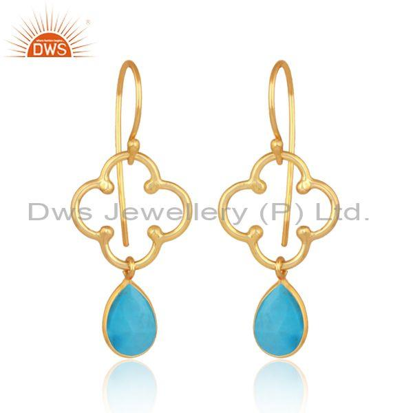 Pear Cut Turquoise Set Gold On 925 Silver Floral Earrings