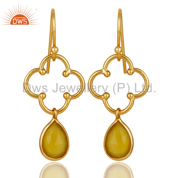 Yellow Chalcedony 18K Gold Plated Sterling Silver Artisan Earrings