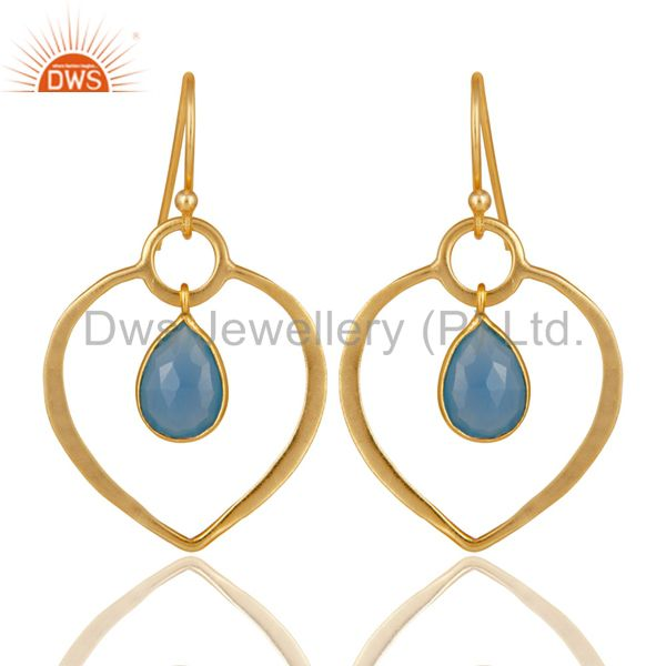 Blue Chalcedony 18K Gold Plated Heart Shape Designed Sterling Silver Earring