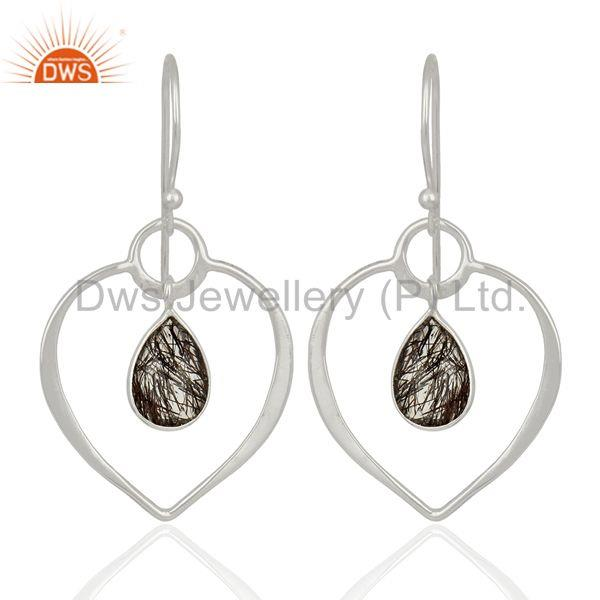 Handmade Sterling Silver Rutile Black Gemstone Earrings Manufacturer